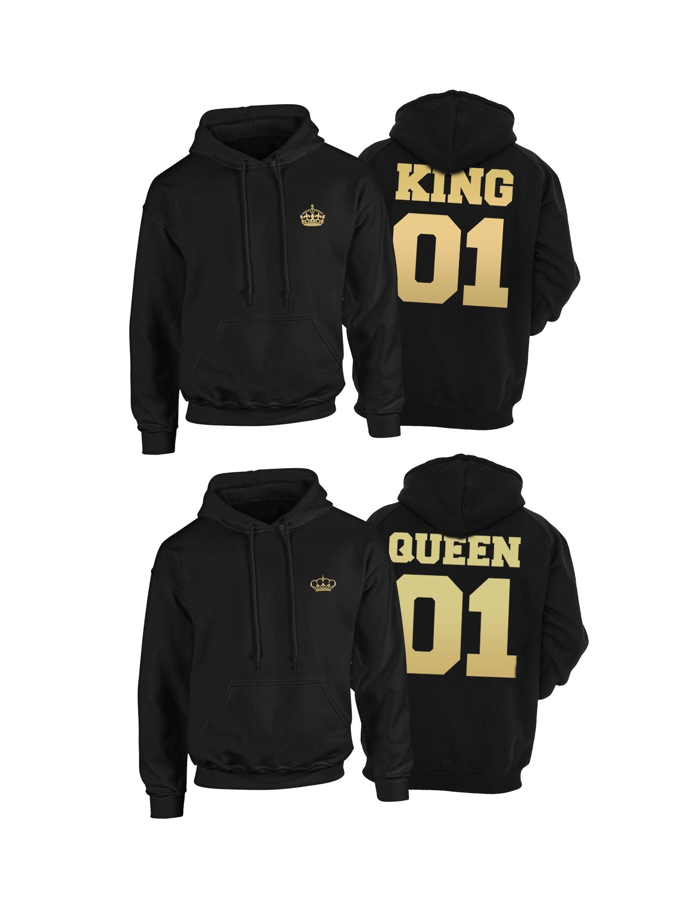 d88921ba08f7 Hoodies for couple King Queen 01