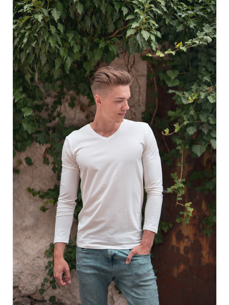 Pánske tričko výstrih V dlhý rukáv